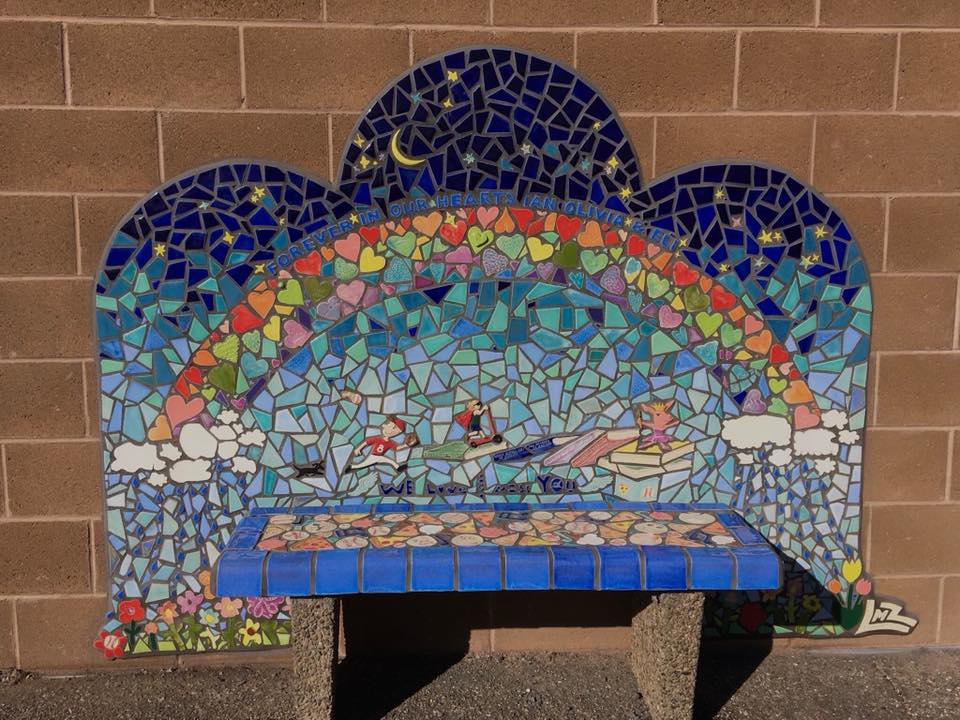 Childrens bench commemorating the three children who lost their lives