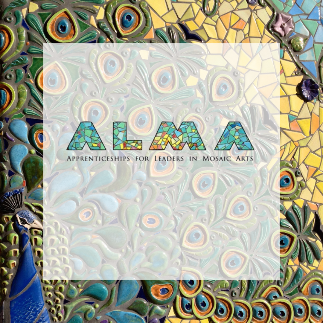 Alma logo with peacock mural in the background