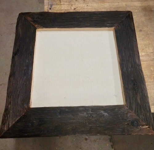 Woodworker Mike Mulvey of Belen has generously donated a beautiful rustic wood frame that he fabricated to hold the mosaic tile.